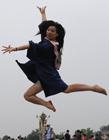 大学生天安门广场拍创意毕业照