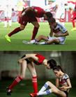 性感足球宝贝搞怪还原世界杯经典瞬间