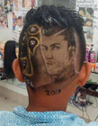 男士头发雕刻图案 你见过把足球巨星雕刻在头上的吗