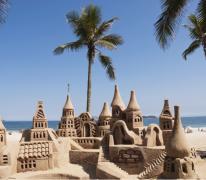 海边沙滩搭建城堡创意图