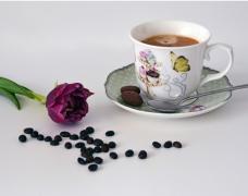 咖啡豆咖啡拉花唯美图片