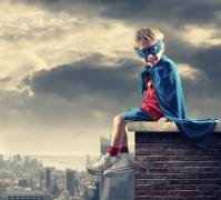 小孩子英雄梦超人创意设计摄影高清图片