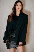 唐嫣黑色西装皮裙帅气冷艳炫酷时尚杂志周刊性感写真图片