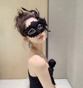 古力娜扎性感黑色羽毛面具自拍照图片
