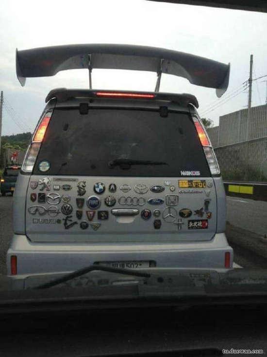 搞笑的汽车车标图片