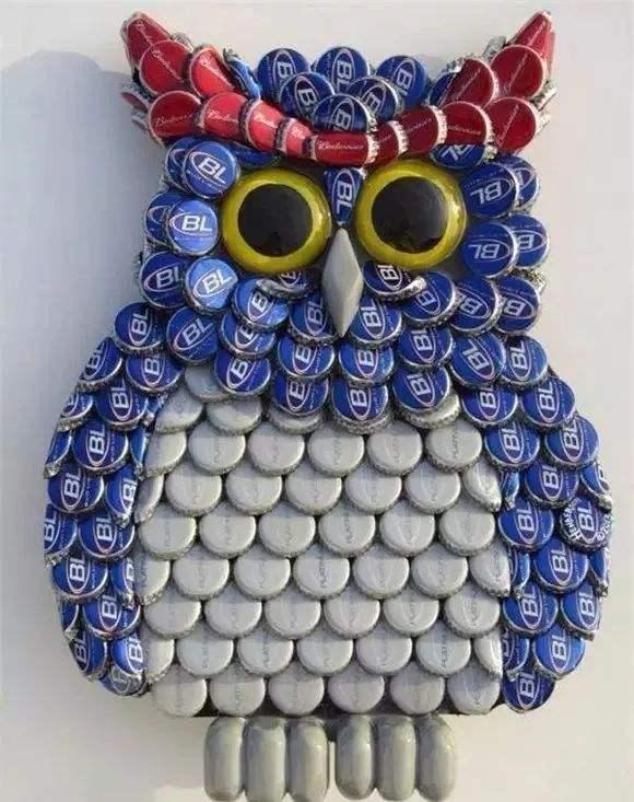 创意手工啤酒盖猫头鹰