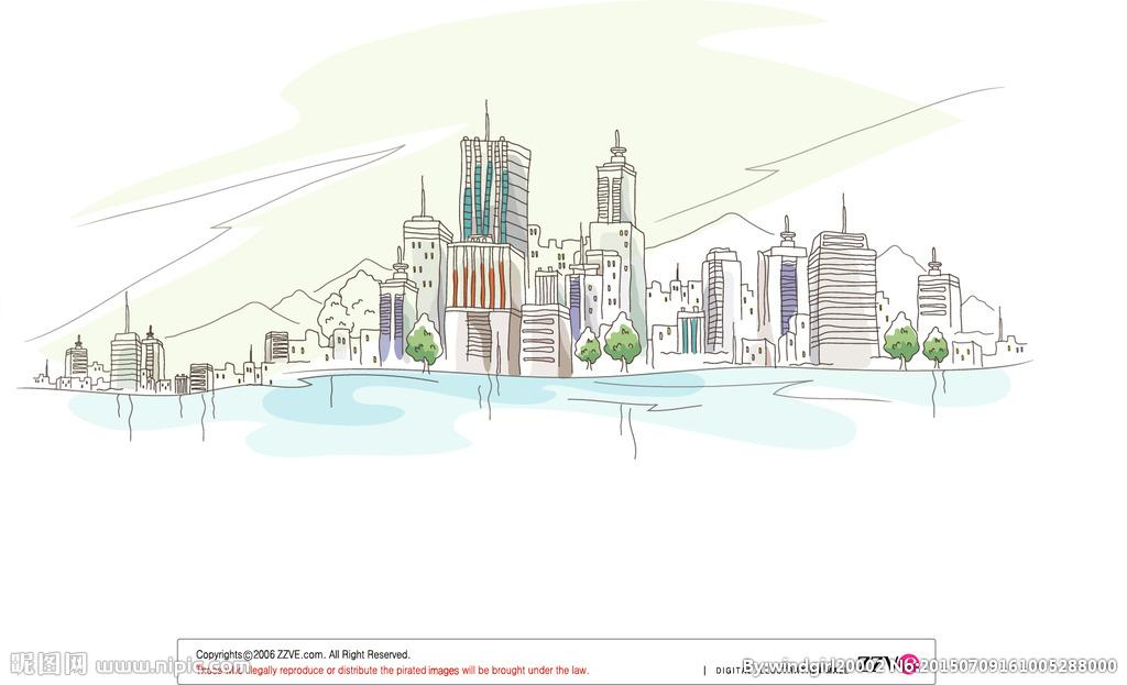 沿海城市_简笔画