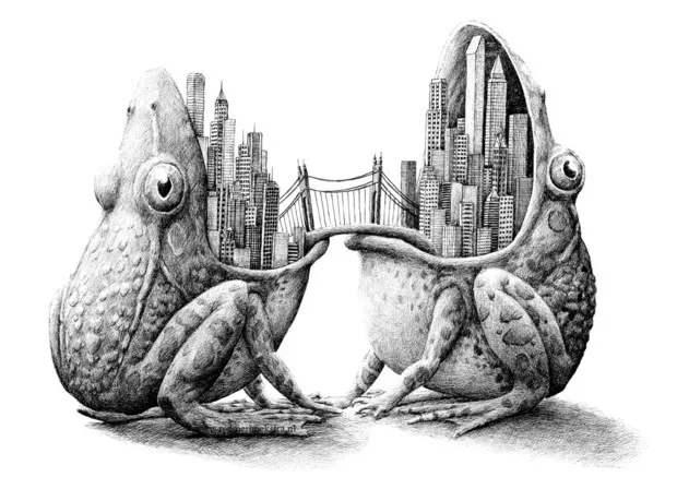 青蛙嘴上的城市_��意素描