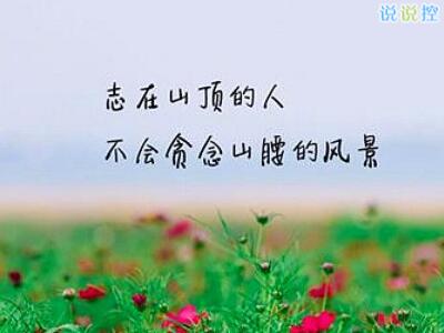 志在山顶的人,不会贪念山腰的风景。